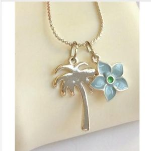 Silver Palm Tree Plumeria Necklace Coconut Island